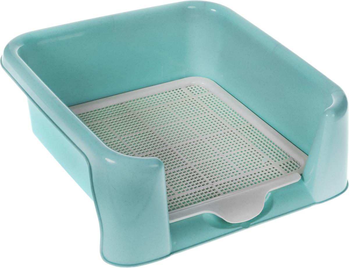 Туалет для собак Triol, с сеткой, цвет: голубой, 40 х 40 х 15,5 см туалет для собак triol 48 х 42 х 4 см