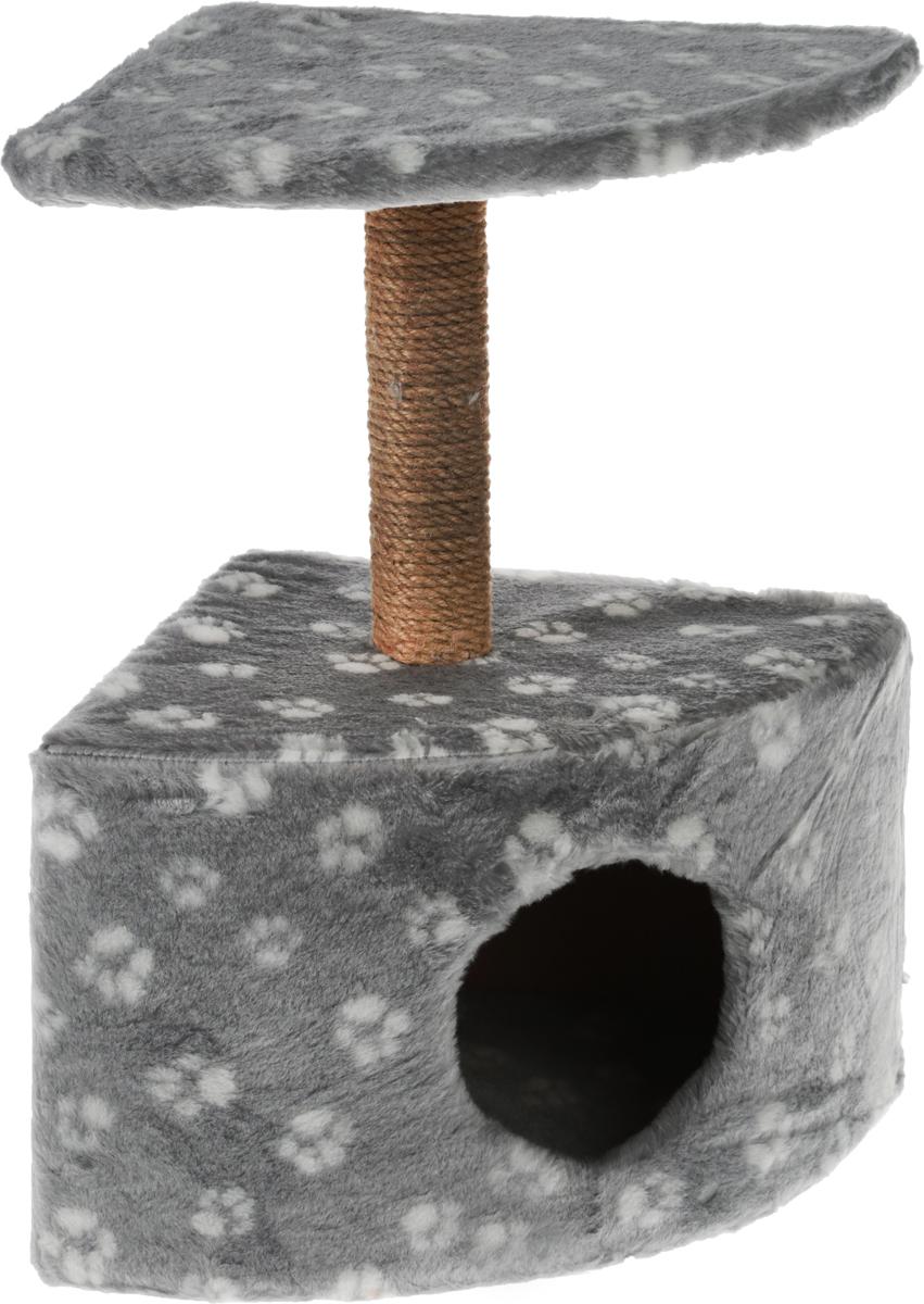 Игровой комплекс для кошек Меридиан, с домиком и когтеточкой, цвет: серый, белый, бежевый, 39 х 39 х 62 см игровой комплекс для кошек меридиан с фигурной полкой и домиком цвет светло серый бежевый 45 х 36 х 69 см