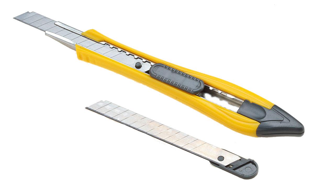 цены на Office Force Stationery Нож канцелярский с автоблокировкой цвет желтый лезвие 9 мм 2 запасных лезвия
