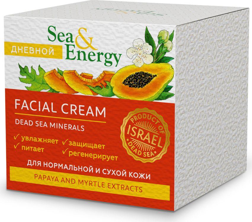 Sea&EnergyДневной крем для нормальной и сухой кожи лица, с экстрактом папайи и мирта, 50 мл Sea&Energy