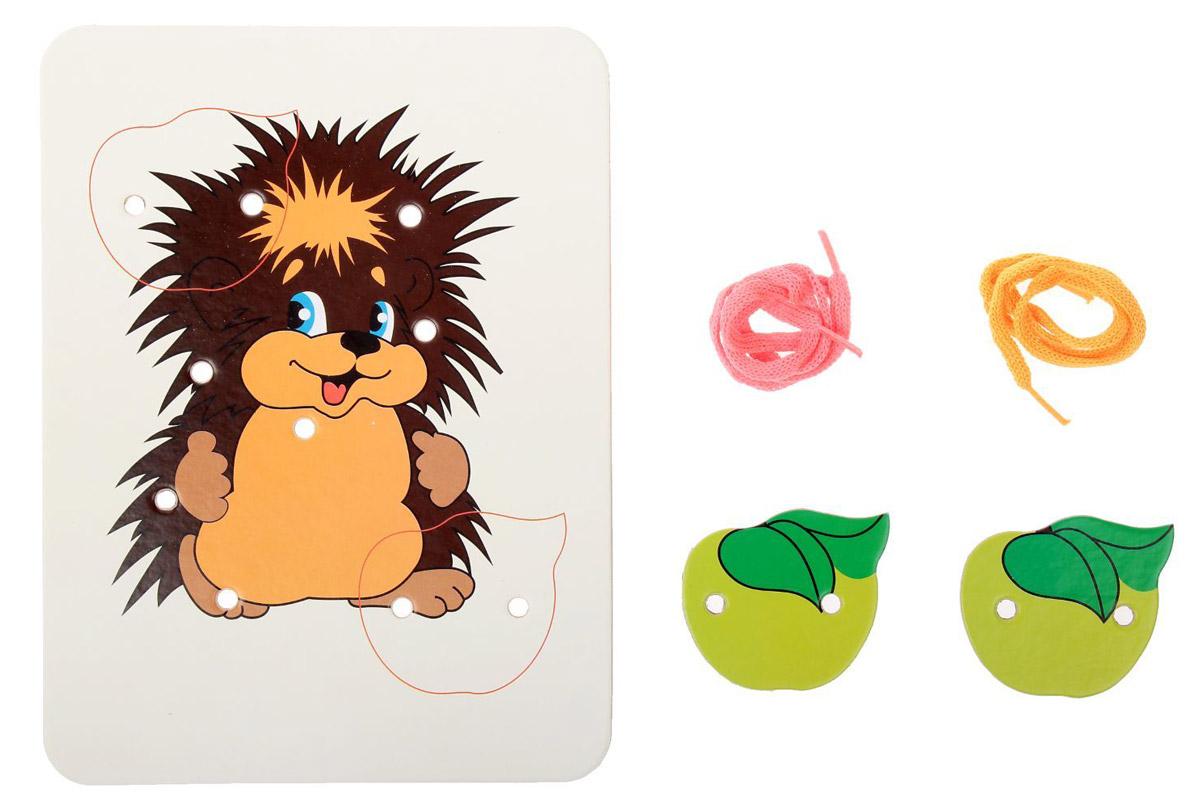 Ракета Шнуровка-раскраска Ежик и 2 яблока раскраска ежик