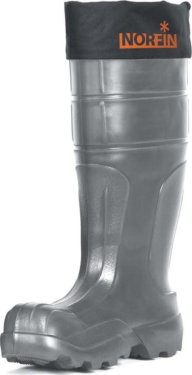 Сапоги для рыбалки мужские Norfin Glacier, цвет: серый. 14840. Размер 4514840-45Сапоги для рыбалки мужские Norfin Glacier изготовлены из материала ЕVА. Сапоги устойчивы к воздействию влаги, низких температур, очень легкие и износостойкие. Удобная колодка, повторяющая контуры ноги, позволяет себя чувствовать комфортно даже во время многокилометровых переходов. Сапоги обеспечивают термозащиту в динамике при температуре до –50°С. Манжета из водоотталкивающей ткани защищает от попадания снега и воды внутрь сапога. Трехслойный вынимаемый вкладыш, толщиной 12 мм, обеспечивает надежную термоизоляцию: - внутренний слой полиэстера – обеспечивает основную термоизоляцию, а также впитывает и отводит влагу наружу; - перфорированная фольга отражает холод, поддерживая температуру тела, и пропускает влагу во внешний слой полиэстера; - внешний слой полиэстера обеспечивает дополнительную термоизоляцию и выводит влагу из вкладыша.