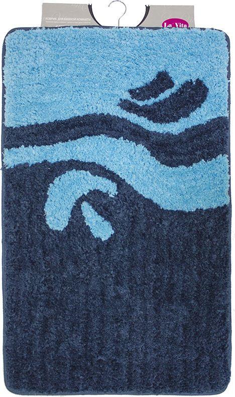 """Коврик для ванной комнаты Dasch """"Симона"""", цвет: синий, голубой, 60 х 100 см"""