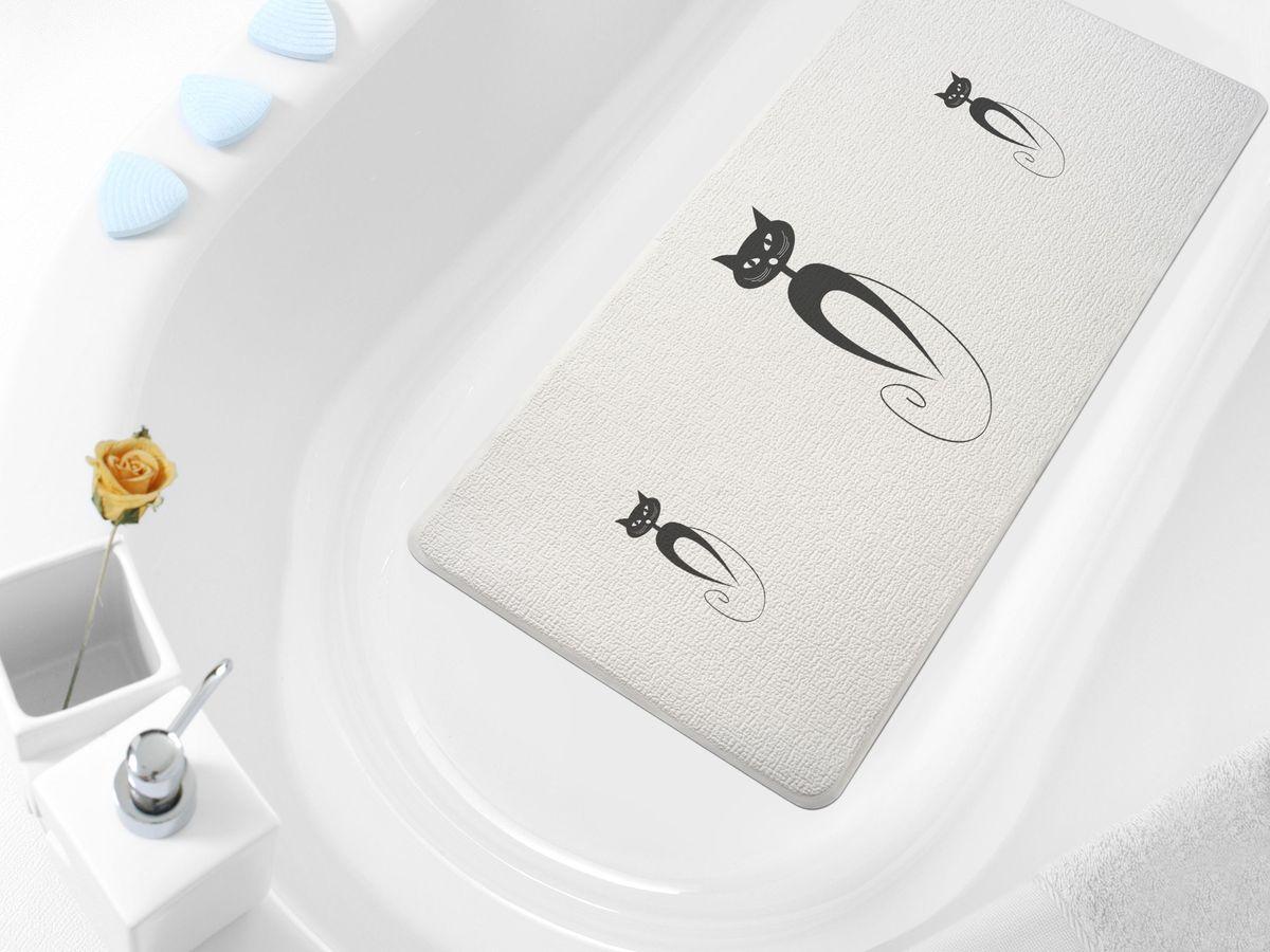 Коврик в ванну Bacchetta Cats, цвет: белый, 36 х 71 см коврик в ванну bacchetta fiore цвет синий 36 х 71 см