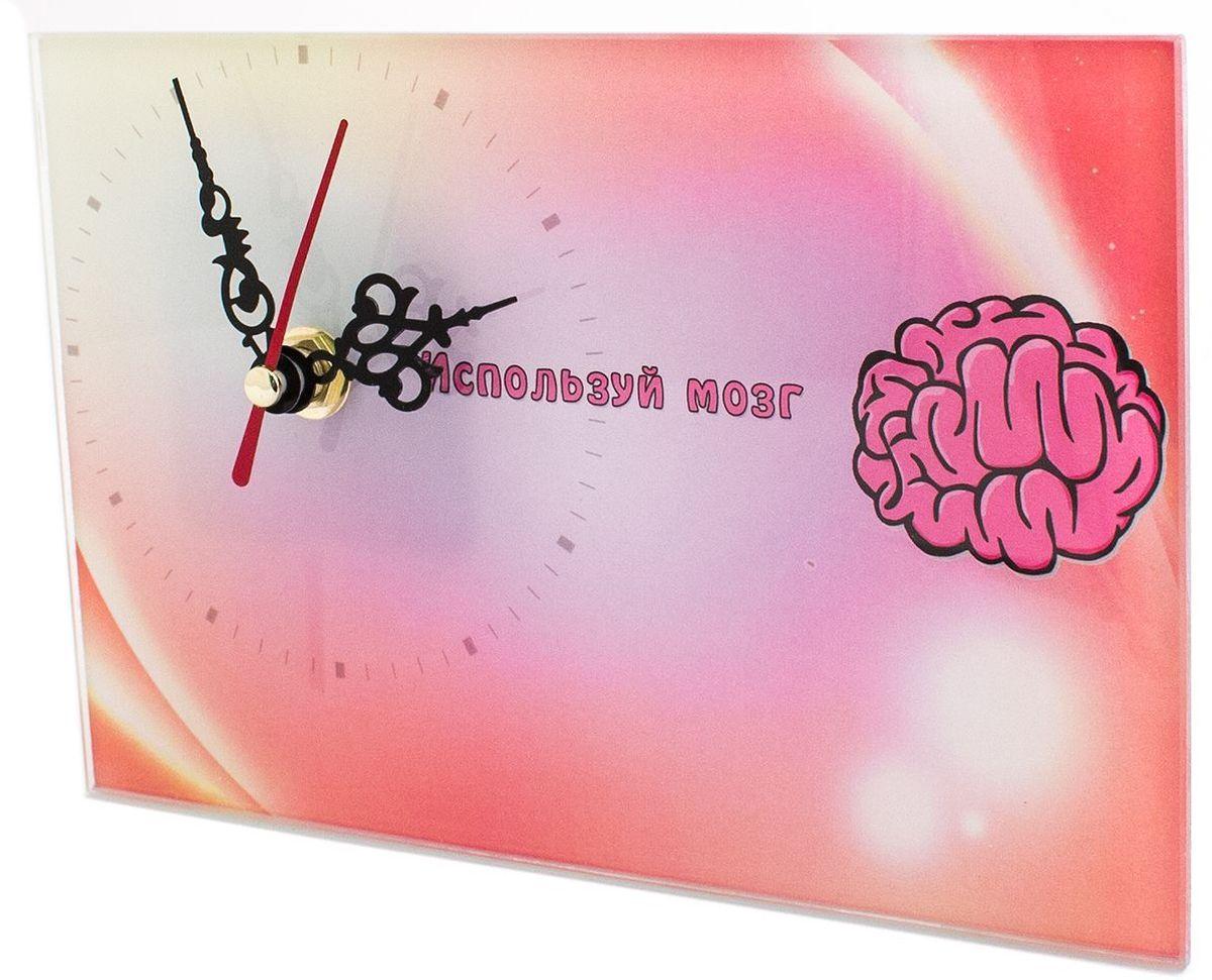 Часы настольные Эврика Используй Мозг, стеклянные, 18 х 12 х 2 см игрушка антистресс эврика шары ньютона 18 х 18 5 х 15 см