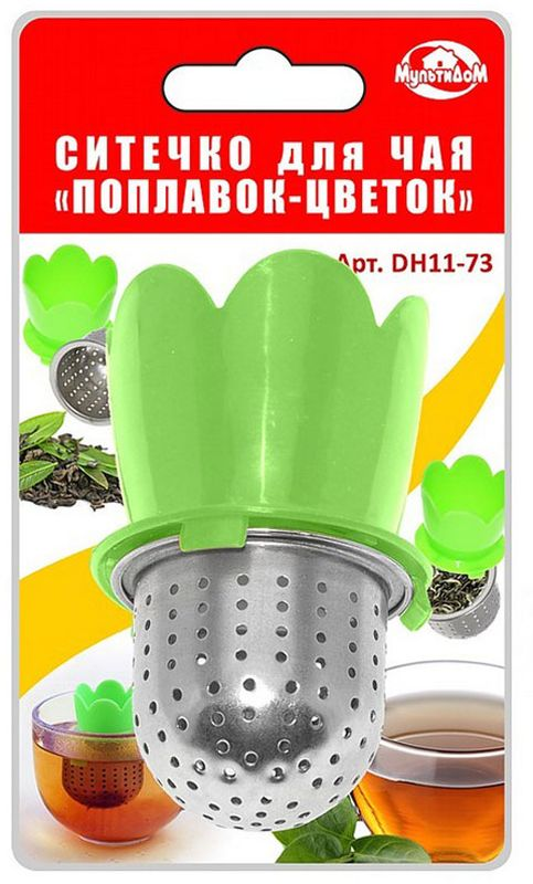 Ситечко для чая Мультидом Поплавок-цветок, : зеленый