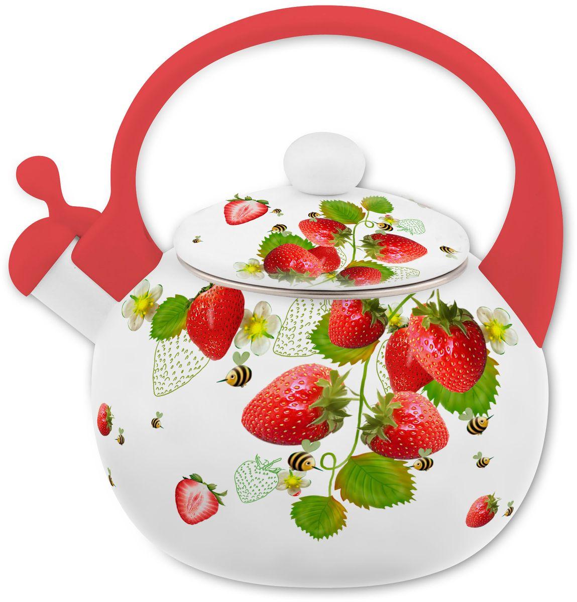 Чайник Appetite Верано, со свистком, цвет: белый, красный, 2 л цена