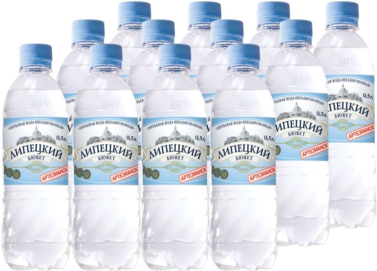 Липецкий Бюветводаартезианская питьевая негазированная, 12 шт по 0,5 л