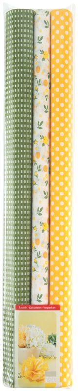 Werola Бумага крепированная цвет желтый зеленый белый 3 шт 50 см х 200 см