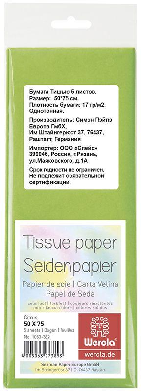 Werola Бумага Тишью цвет светло-зеленый 5 листов 50 см х 76 см