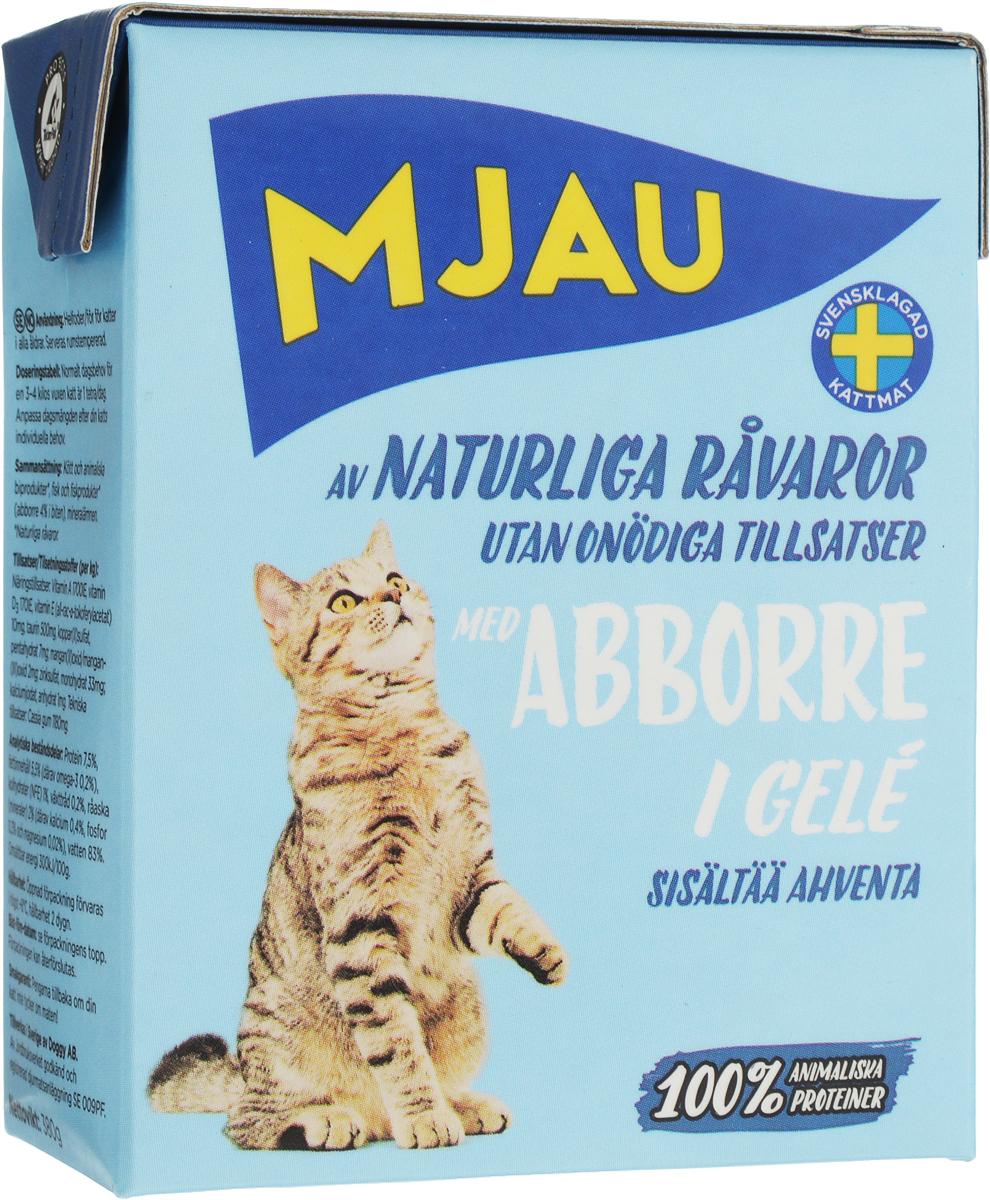 Фото - Консервы для кошек Mjau, мясные кусочки в желе с окунем, 380 г консервы mjau для кошек мясные кусочки в желе с арктическим лососем 380 г