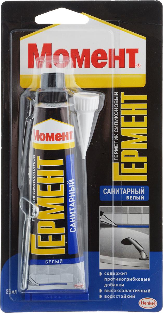 Герметик силиконовый Момент Гермент, санитарный, цвет: белый, 85 мл герметик kraftool силиконовый белый санитарный 300 мл 41255 0