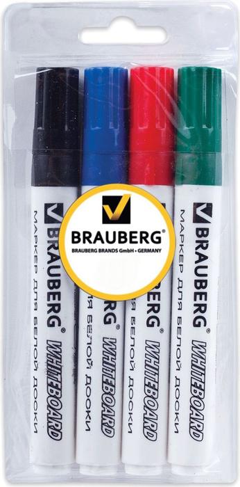 цена Brauberg Набор маркеров для доски 4 цвета 150417 онлайн в 2017 году