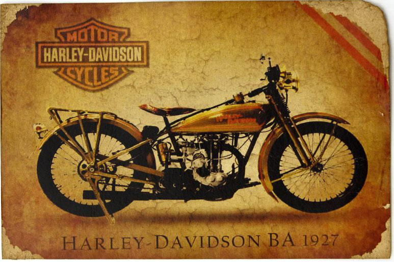Открытка Легендарный мотоцикл HD BA 1927 г. Авторская работа. РА5 драже m