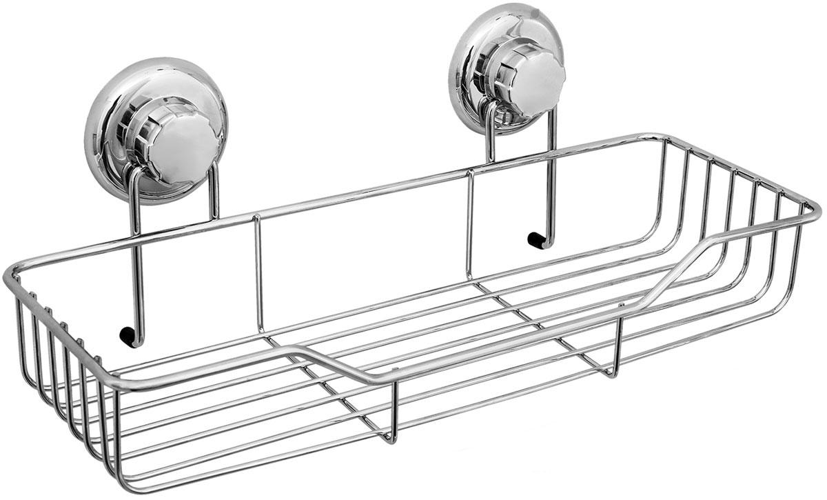 Полка для ванной комнаты Tatkraft Mega Lock, цвет: серый металлик, 38 x 14 x 6 см держатель tatkraft greta для зубных щеток и бритвы самоклеящийся цвет серый металлик 11 5 x 2 5 х 14 см