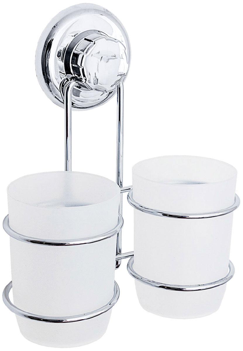 цена на Стакан для ванной комнаты Tatkraft Mega Lock Odr, цвет: серый металлик, 2 шт