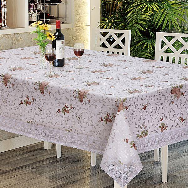 """Скатерть Dasch """"Донна Роза. Розы"""", прямоугольная, цвет: белый, коричневый, зеленый, 122 х 152 см. 5946"""
