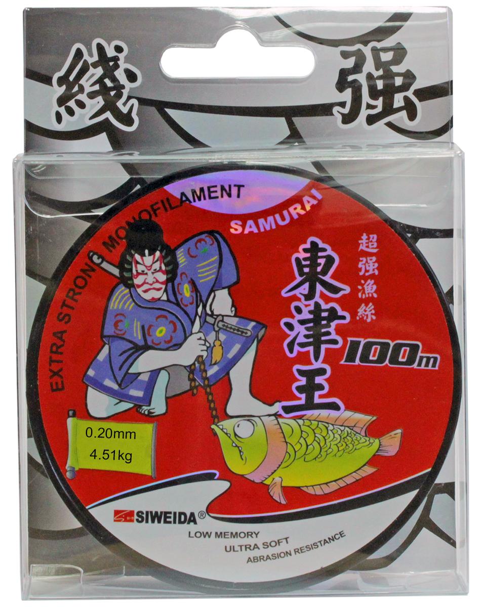 Леска SWD Samurai, цвет: прозрачный, длина 100 м, сечение 0,2 мм, нагрузка 4,51 кг леска siweida swd samurai 0 20mm 100m 4 51kg transparent 5234206