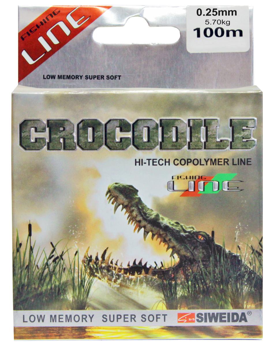 Леска SWD Crocodile, цвет: прозрачный, длина 100 м, сечение 0,25 мм, нагрузка 5,7 кг леска balsax tarantula gold 100 м 0 32 мм 13 0 кг