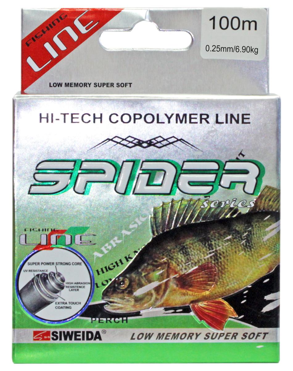 Леска SWD Spider Perch, цвет: серый, длина 100 м, сечение 0,25 мм, нагрузка 6,9 кг леска balsax tarantula gold 100 м 0 32 мм 13 0 кг