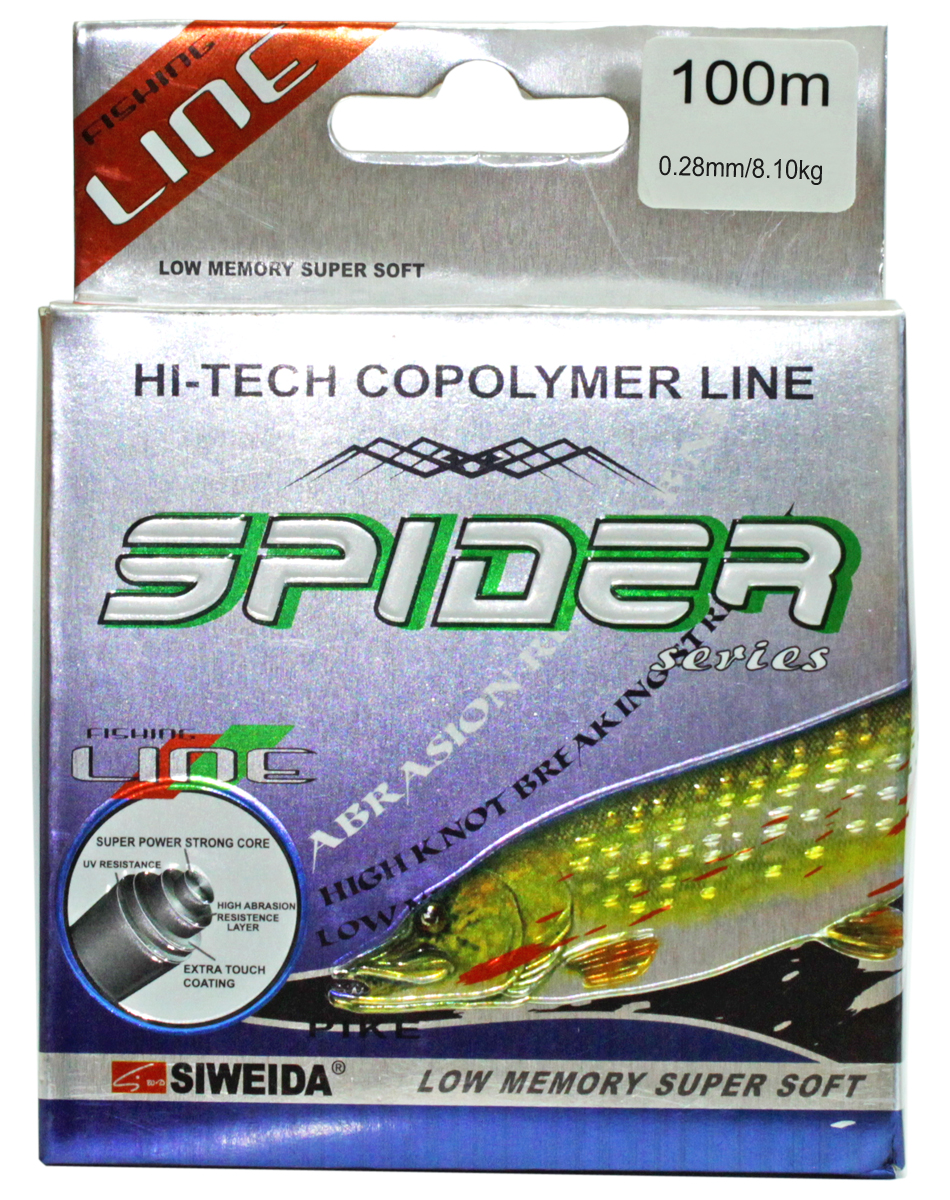 Леска SWD Spider Pike, цвет: зеленый, длина 100 м, сечение 0,28 мм, нагрузка 8,1 кг леска balsax tarantula gold 100 м 0 32 мм 13 0 кг