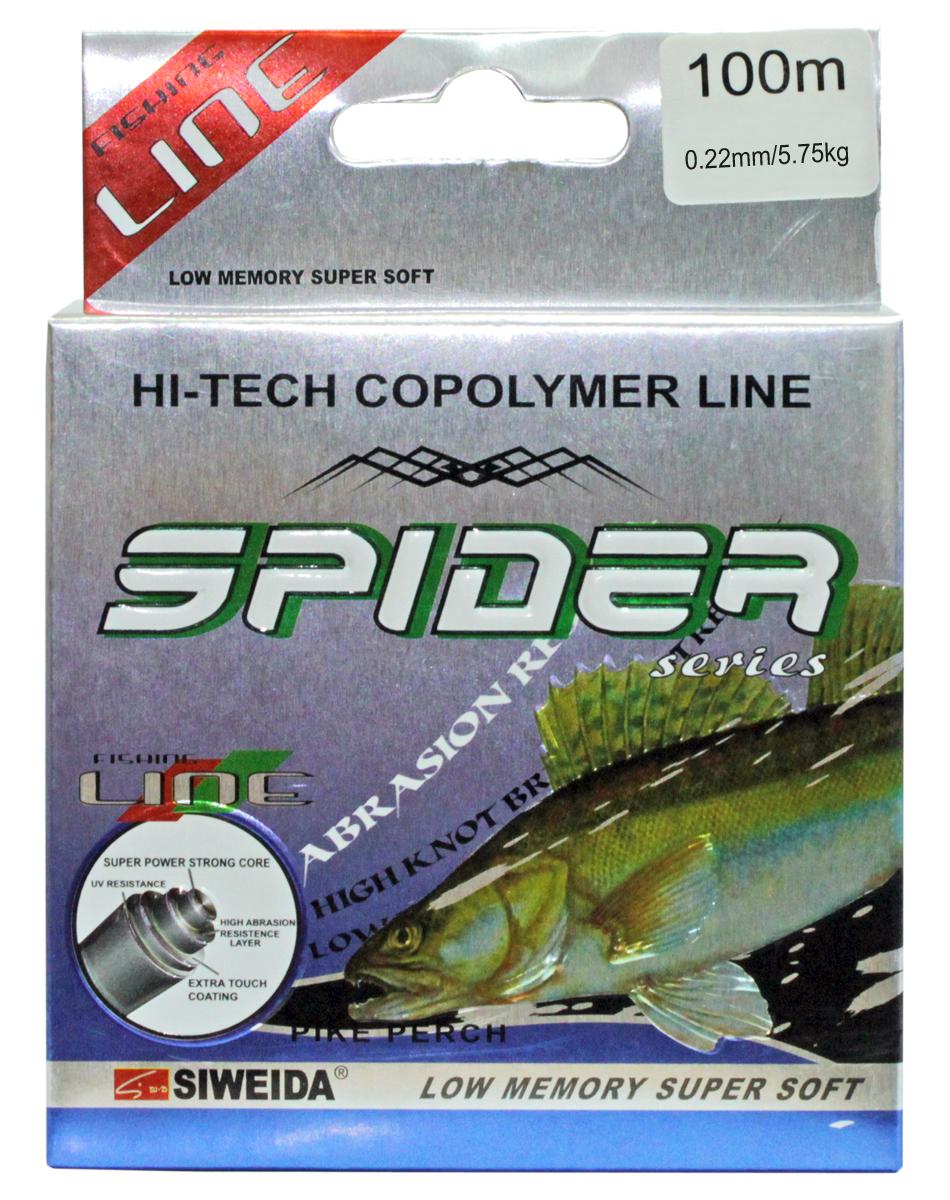Леска SWD Spider Pikeperch, цвет: желтый, длина 100 м, сечение 0,22 мм, нагрузка 5,75 кг