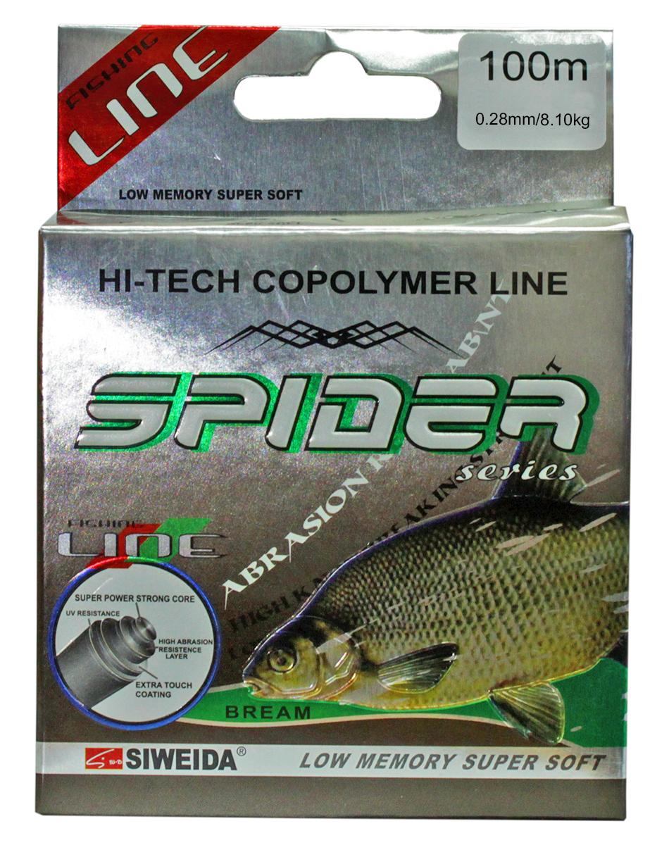 Леска SWD Spider Bream, цвет: прозрачный, длина 100 м, сечение 0,28 мм, нагрузка 8,1 кг