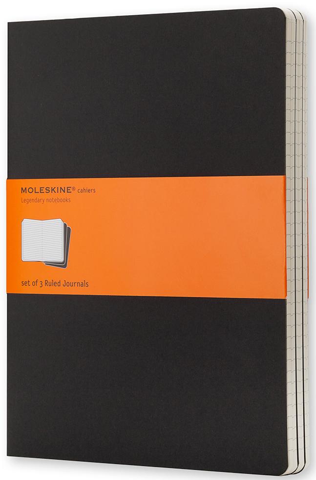 Moleskine Набор записных книжек Cahier Xlarge 60 листов в линейку цвет черный 3 шт