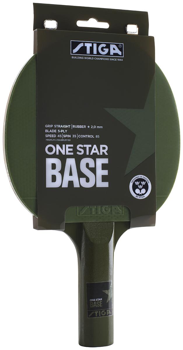 Ракетка для настольного тенниса Stiga Base, ручка-стрэйт, цвет: зеленый ракетка для настольного тенниса stiga octane 1 1211 3216 01