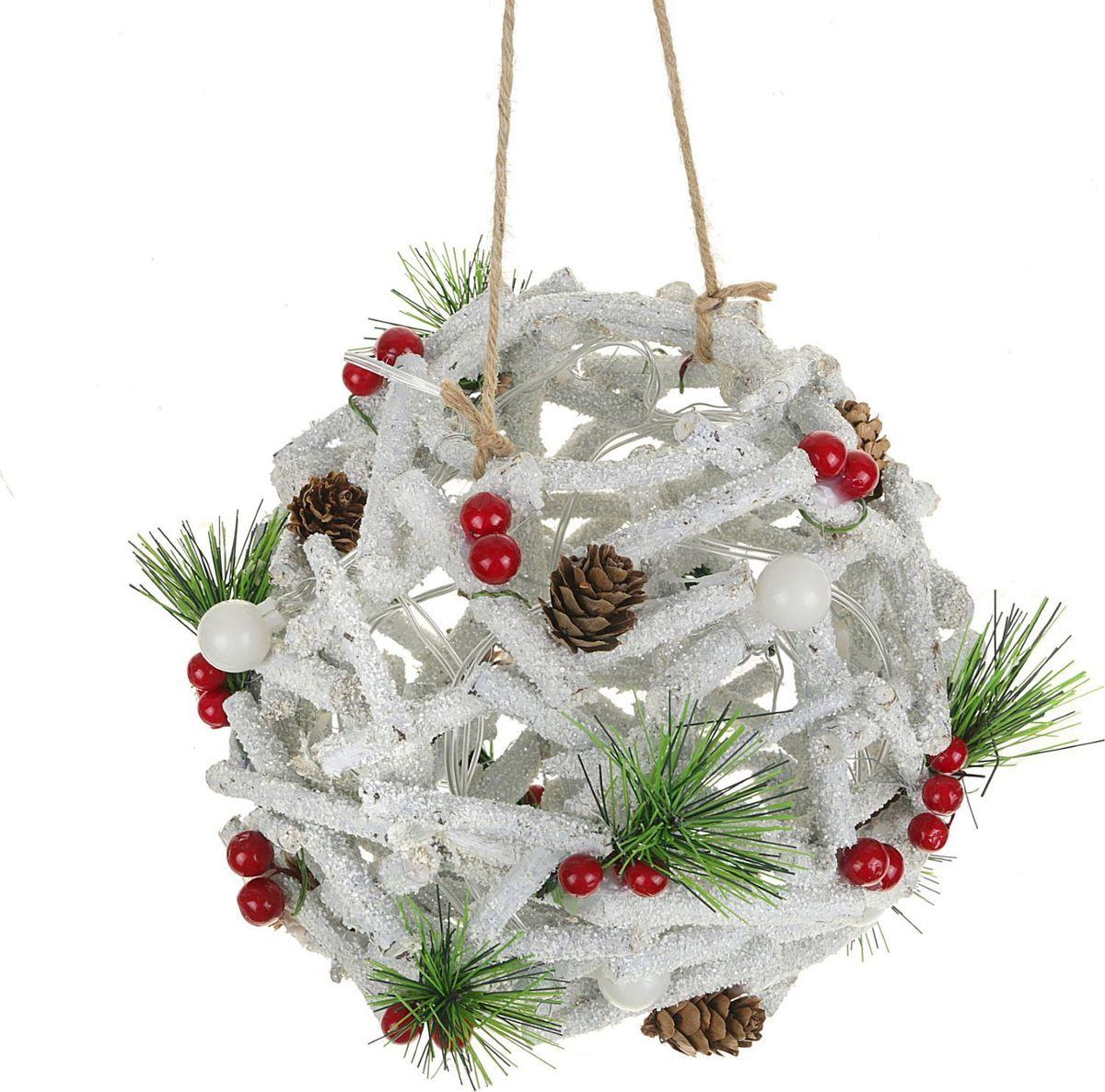 Новогоднее декоративное украшение Sima-land Шар из белых веток, со светодиодной подсветкой, диаметр 21 см декоративное украшение арти м ангелочек 9 см с подсветкой