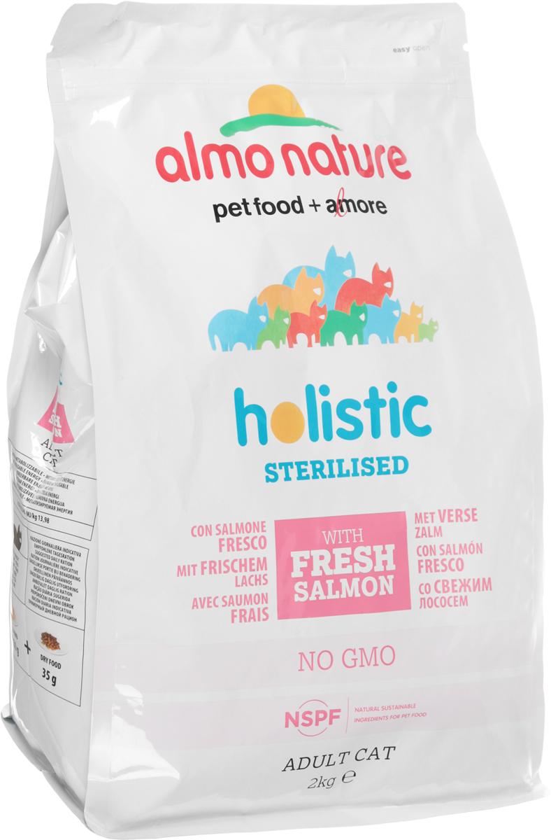 """Корм сухой Almo Nature """"Functional line. Sterilised"""" для кастрированных кошек, со свежим лососем, 2 кг"""