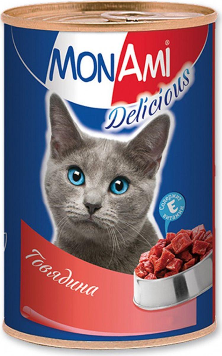 """Консервы для кошек """"MonAmi"""", с говядиной, 350 г"""