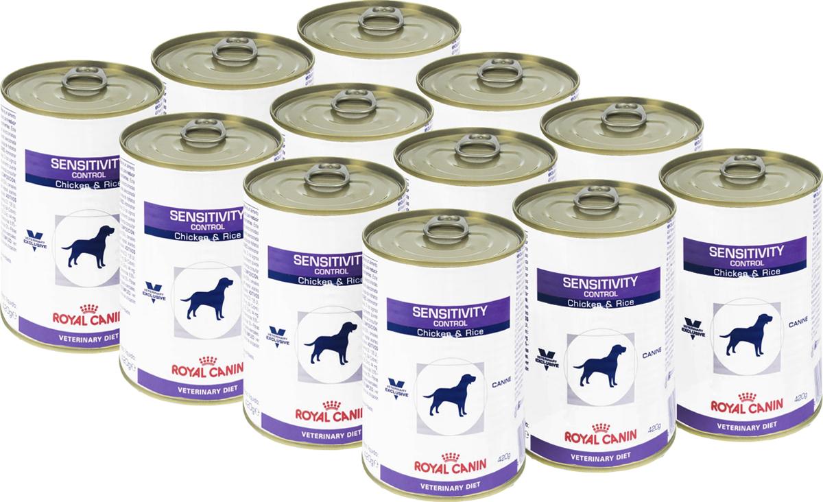 """Консервы для собак Royal Canin """"Sensitivity Control"""", при пищевой аллергии или непереносимости, с курицей и рисом, 420 г, 12 шт"""
