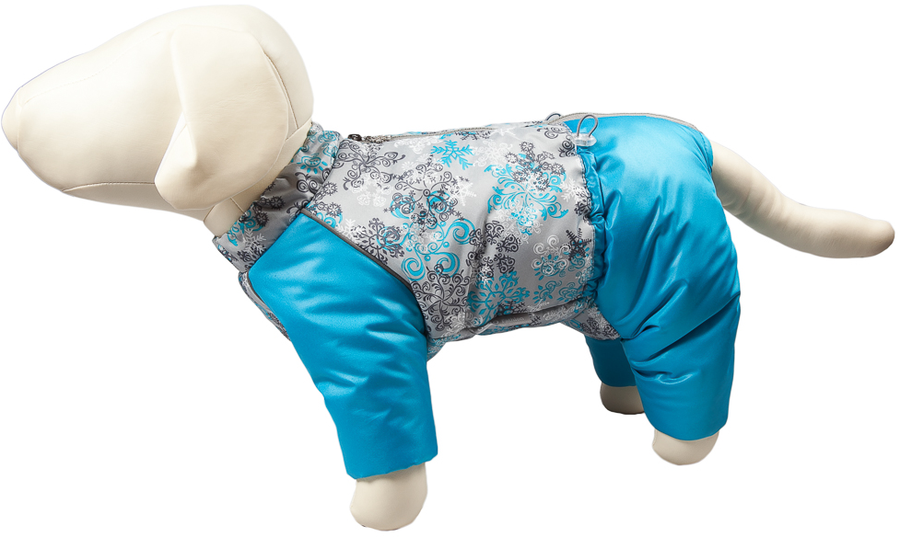 Комбинезон для собак OSSO Fashion Снежинка, зимний, девочки, цвет: бирюзовый. Размер: 35