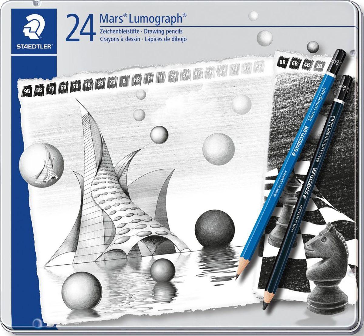 StaedtlerНабор чернографитовых карандашей Mars Lumograph 100 24 шт Staedtler