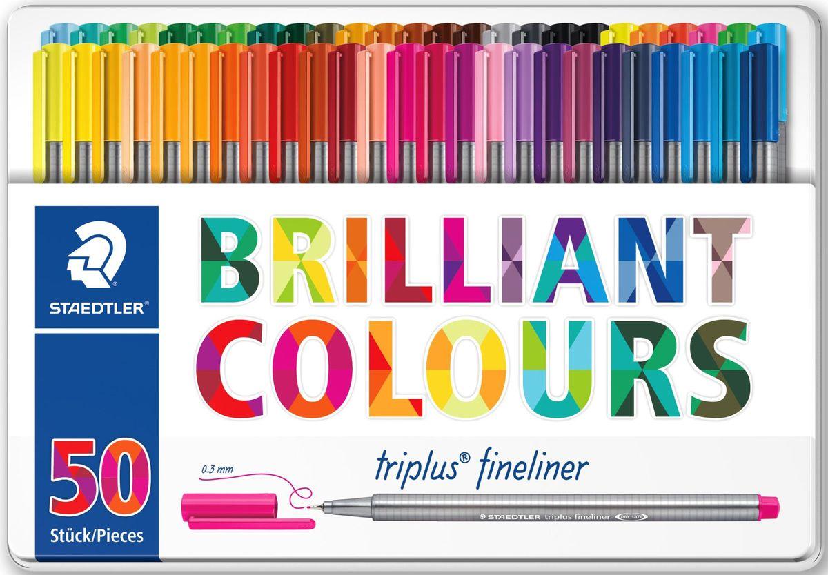 Staedtler Набор капиллярных ручек Triplus 334 Яркие цвета 50 цветов набор шариковых ручек staedtler triplus ball яркие цвета 437msb4 0 5 мм 4 цвета