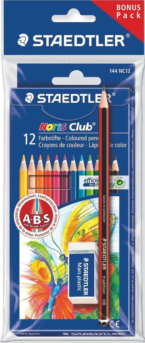 Staedtler Набор цветных карандашей Noris Club 144 NC 12 цветов с ластиком 61SET510 staedtler мелок восковой noris club 12 цветов