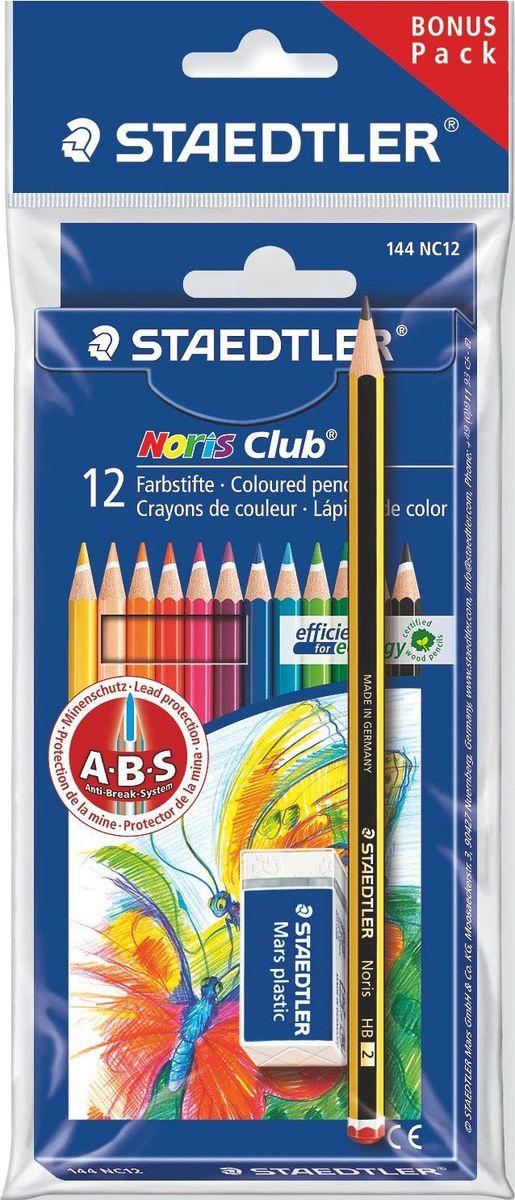 Staedtler Набор цветных карандашей Noris Club 144 NC 12 цветов с ластиком 61SET610 staedtler карандаш акварельный karataquarell набор 36 цветов