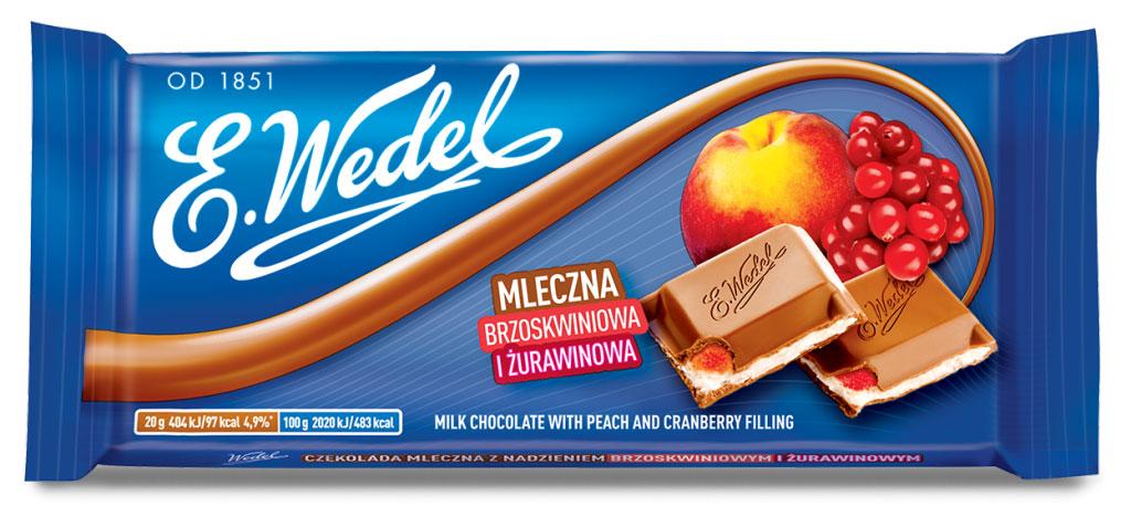 E.Wedel молочный шоколад с фруктовой начинкой персик - клюква, 100 г