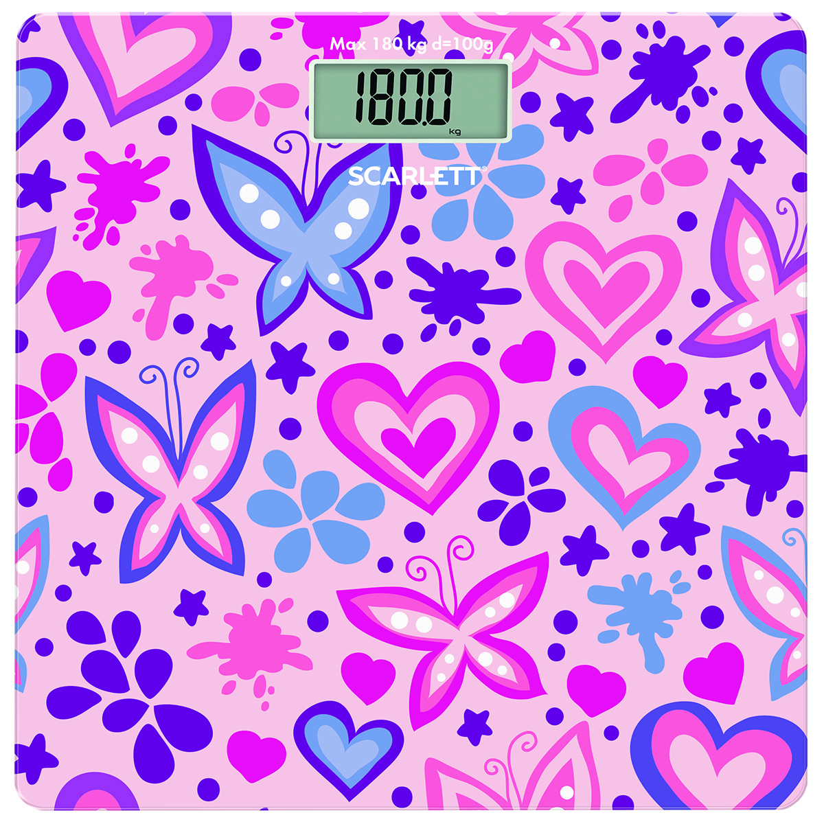 Напольные весы Scarlett SC-BS33E092, Butterfly And Heart весы scarlett sc bs33e064