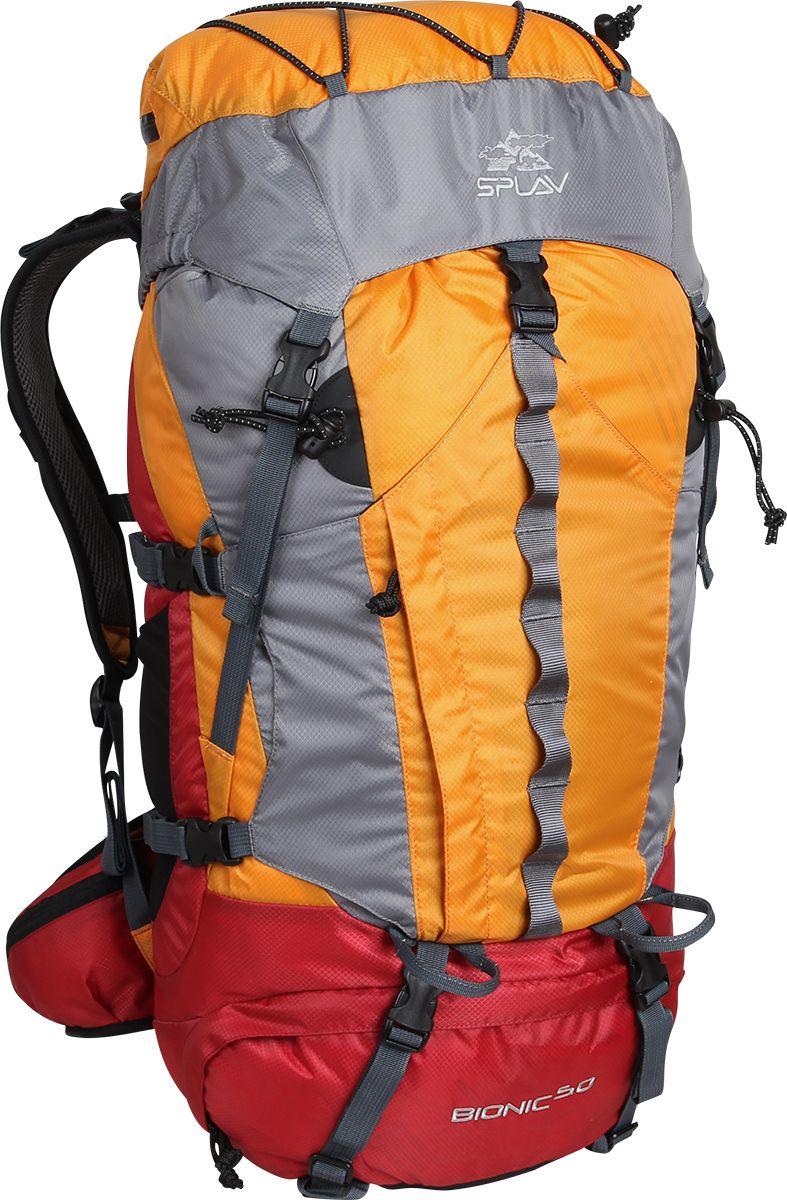 Рюкзак туристический Сплав Bionic 50, цвет: оранжевый, 50 л5027675Облегчённый трекинговый рюкзак. Максимальная вентиляция достигается за счет профилированных уплотняющих накладок на спине, обтянутых плотной сеткой, а также использования в лямках и на поясе перфорированной уплотняющей пены с сеткой Air Mesh. Анатомическая спина формируемая плотной пеной и съемной латой. Рюкзак имеет жестко зафиксированный клапан с влагозащитной молнией, с внутренней стороны клапана имеется плоский кармашек из сетки для документов. Сверху клапана имеется эластичный шнур для фиксации легких вещей. Объёмный открытый фронтальный карман краб фиксируется боковыми стяжками и дополнительно верхней оттяжкой. Нижний вход фиксируется стяжками. Два боковых кармана. Анатомические лямки имеют регулируемую грудную стяжку. На поясе два кармашка для мелочей. В дне рюкзака карман со встроенной накидкой от дождя. Две точки для крепления скального или ледового инструмента. Дополнительный внутренний кармашек для документов или мелочей. Рюкзак совместим с питьевыми системами. Объем: 50 л Вес: 1,5 кг Основная ткань: Polyester Diamond 210D R/S Пластиковая фурнитура: YKK