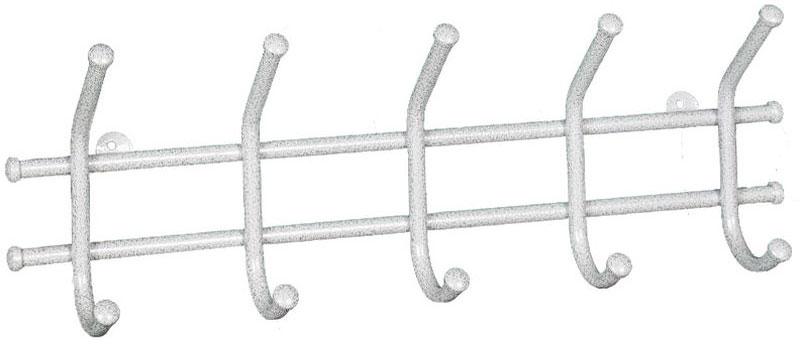 Вешалка настенная ЗМИ Норма 5, с 5 крючками, цвет: белое серебро, 48 х 8 х 16,5 см вешалка настенная зми кружева с 3 крючками цвет черный 20 х 4 х 13 см