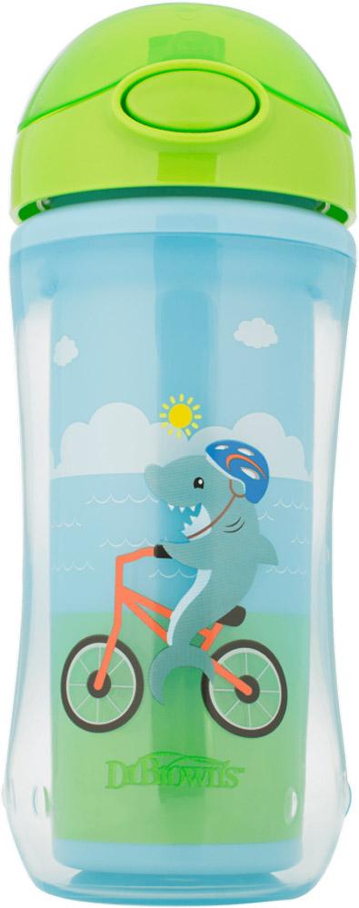 Поильник-термочашка Dr.Browns Акула с трубочкой, голубой, 300 мл Уцененный товар (№2)