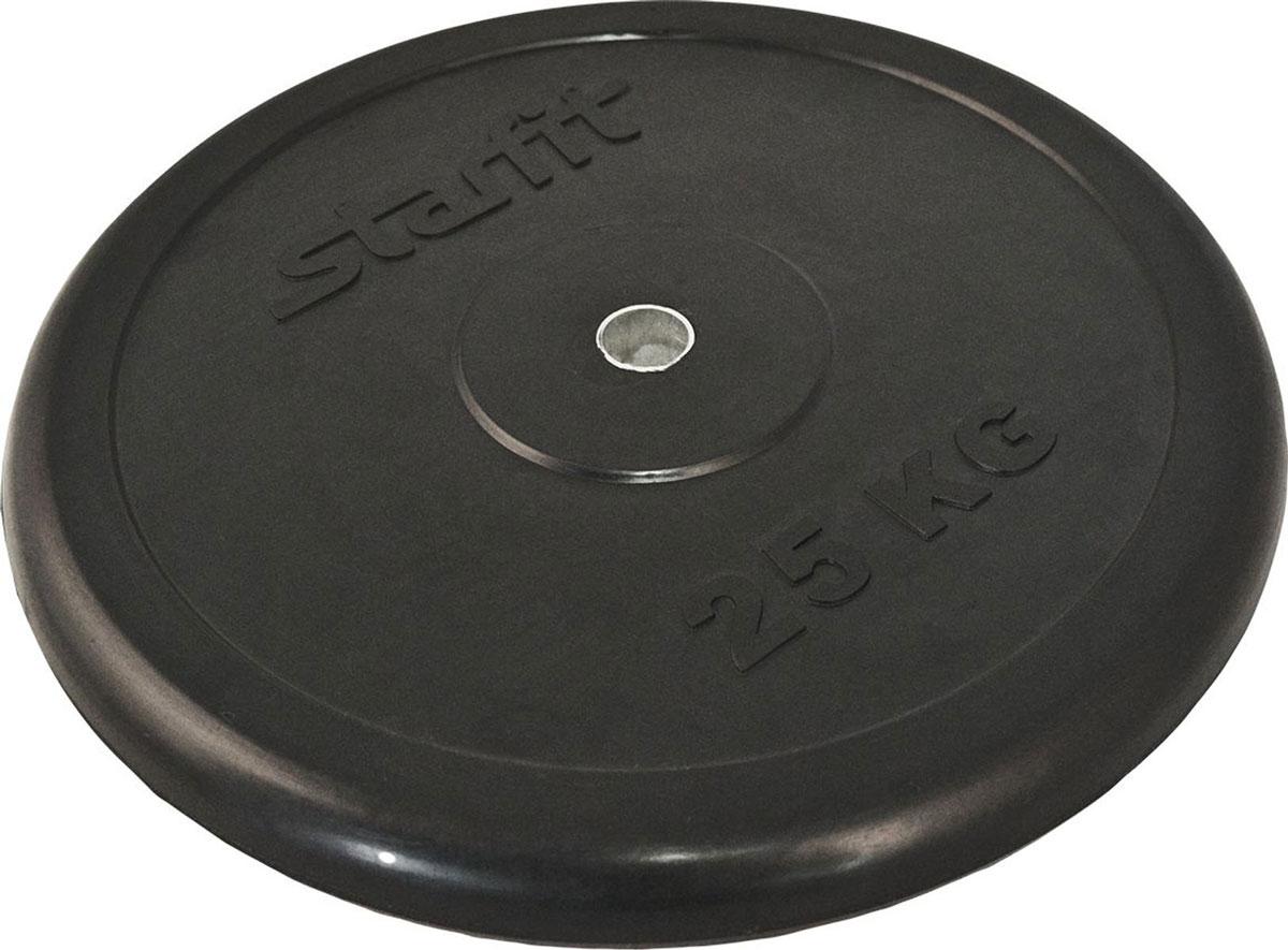 Диск обрезиненный Starfit BB-202, посадочный диаметр 26 мм, 25 кг диск пластиковый starfit bb 203 посадочный диаметр 26 мм 0 5 кг