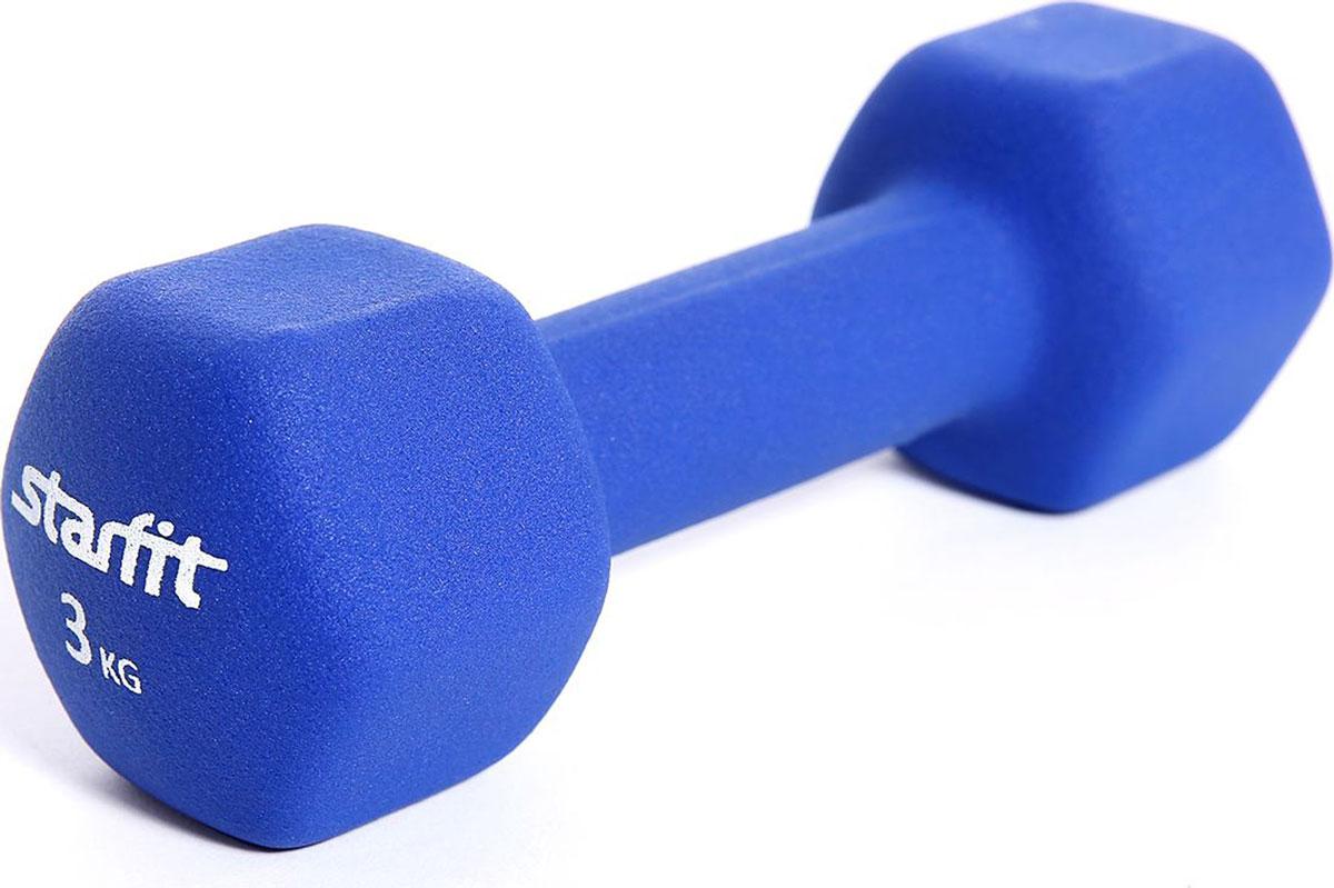 Гантель неопреновая Starfit, цвет: синий, 3 кг гантель неопреновая onerun цвет розовый 0 5 кг