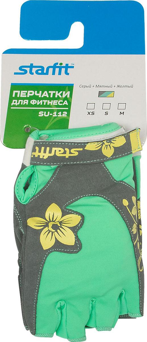 Перчатки для фитнеса Starfit, цвет: серый, мятный, желтый. SU-112. Размер M цена