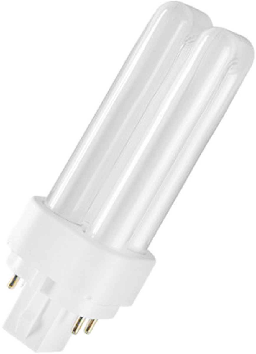 Лампа люминесцентная Osram Dulux D/E 18W/830 G24q-2. 40503003272114050300327211Люминесцентная лампа имеет изогнутую форму колбы, что позволяет разместить лампу в светильнике меньших размеров. Такие лампы нередко имеют встроенный электронный дроссель. Компактные люминесцентные лампы разработаны для применения в конкретных специфических типах светильников либо для замены ламп накаливания в обычных.