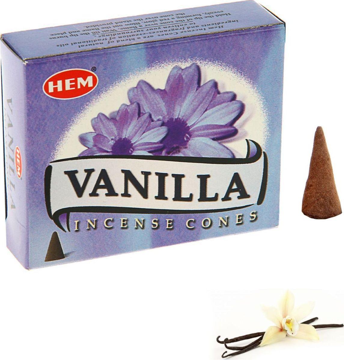 Благовония HEM Vanilla (Ваниль), 10 конусов благовония hem tangerine мандарин 10 конусов