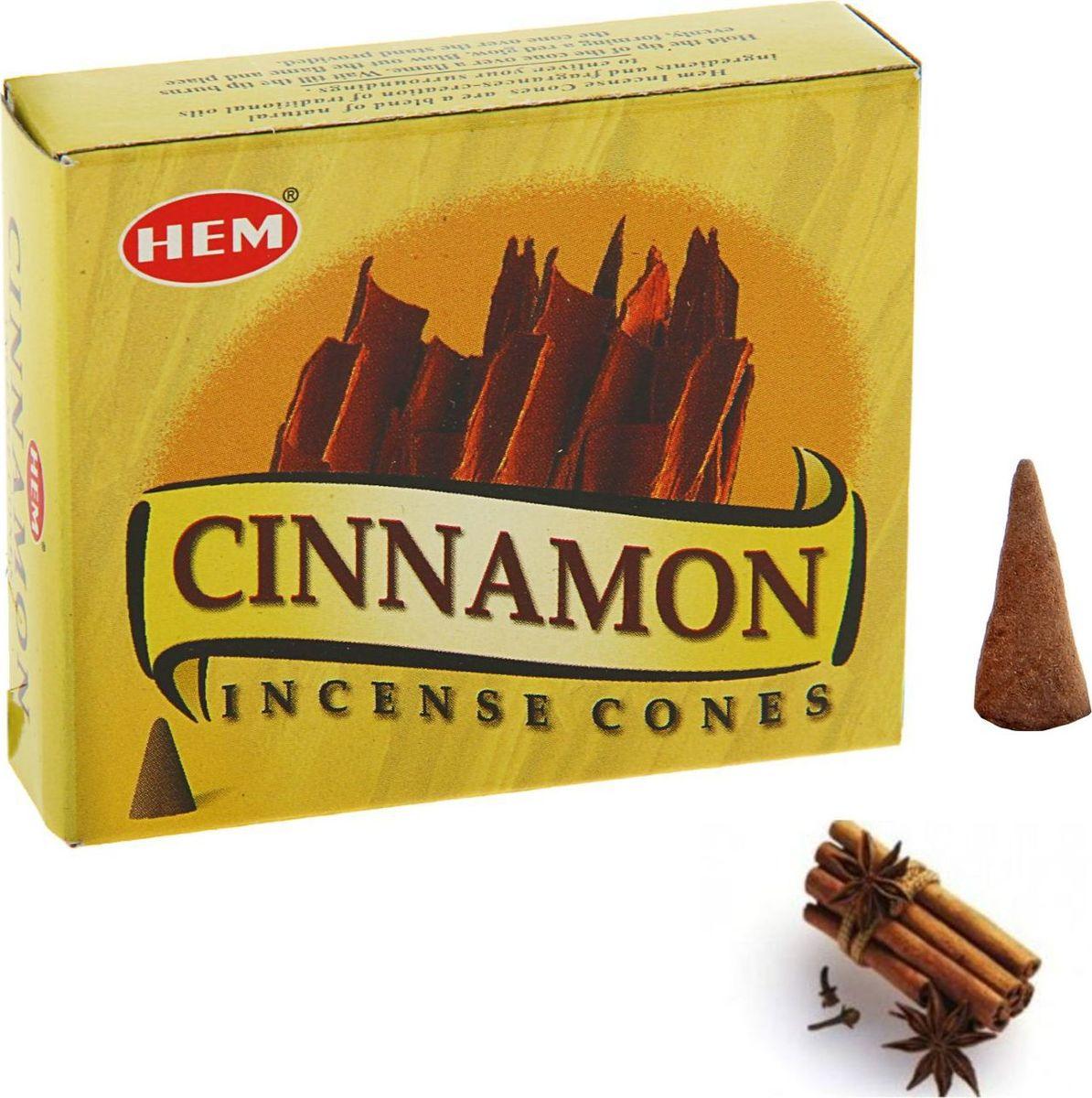 Благовония HEM Cinnamon, 10 конусов благовония hem tangerine мандарин 10 конусов