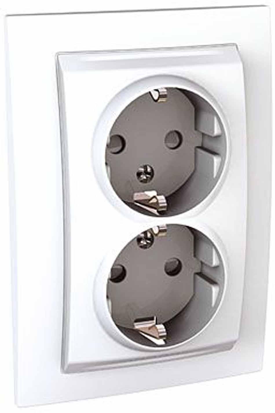 Розетка Schneider Electric Unica, двухместная, с заземлением, с защитными шторками, цвет: белый. MGU23.067.18D розетка simon electric с заземлением цвет белый 16 а 250 в